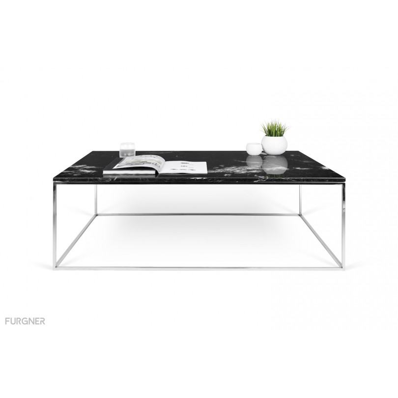 Gleam White Marble Black Coffee Table By Temahome: Gleam 120 Marble Coffee Table Chrome Legs